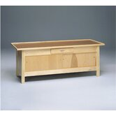 Enclosed Wooded Treatment Table with 2 Sliding Doors and Draw, Upholstered Top