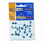Round Black Wiggle Eyes, 10mm, 50 Pieces per Pack