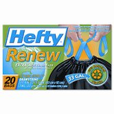 Hefty Renew Recycled Kitchen & Trash Bags, 33 Gal.,1.1 mil, 24 x 27 1/4, Black, 20/Box