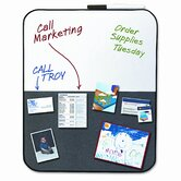 Self-Stick/Dry Erase Combination Board, 22 x 18, Gray/White, Black Frame