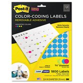 Super Sticky Removable Color-Coding Label, 3/4in Dia, Assorted, 1800 Labels/Pack