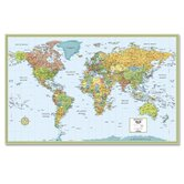 "Deluxe World Wall Laminated Map, 50""x32"""