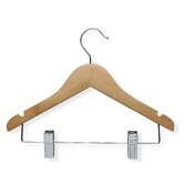 Kid'S Basic Hanger with Clips in Maple (10 Pack)