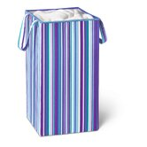Rectangular Collapsible Hamper with Handles in Bright Blue and Purple