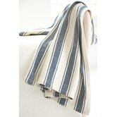 Blue Awning Stripe Woven Cotton Throw