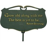 Flora and Fauna Grow Old Poem Garden Plaque