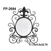 Metal Table Mirror with Fleur De Lis Print