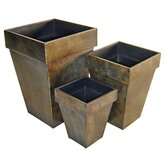 Metal Square Tapered Planter (Set of 3)