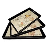 Tray with Birds and Script Writing (Set of 3)