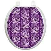 Toilet Seat Applique with Bell Flowers in Plums Design
