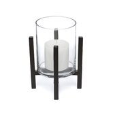 Cylinder Iron and Glass Hurricane Candle Holder