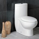 Hermes Contemporary Elongated One Piece Toilet in White