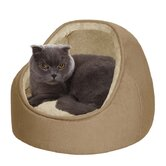 Faux Suede Hooded Snuggler Cat Bed with Cushion in Sand/Camel