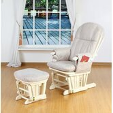 Deluxe Recliner Glider Chair with Stool in Vanilla