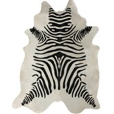 Zebra Print Cowhide Black/White Rug