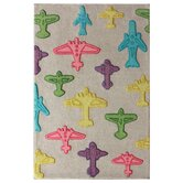 KinderLOOM Airplanes Grey Kids Rug