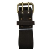 "Heavy Top Grain Oiled Leather 2"" Work Belt with Double Prong Roller Buckle"