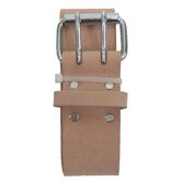 "Heavy Top Grain Leather 2"" Work Belt with Double Prong Roller Buckle"