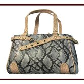 Faux Leather Handbag Pet Carrier in Snake Silver