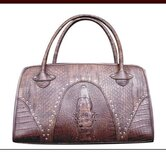 Faux Leather Handbag Pet Carrier in Snake Skin Brown