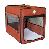 Soft-Sided Dog Crate with Mat in Brown