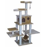 "72"" Faux Fur Cat Tree in Beige"