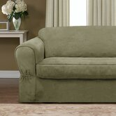 Piped Faux Suede Separate Seat Loveseat Slipcover