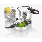 Duo Combi 5 Piece Stainless Steel Pressure Cooker Set
