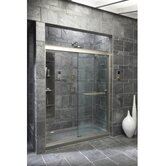 "Fluence Frameless Sliding Shower Door with 0.37"" Thick Crystal Clear Glass, 56.62"" - 59.62"" x 75"""