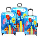 Flower Base Blue 3 Piece Luggage Set