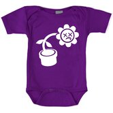 Humorous Flower Bodysuit with Short Sleeve in Purple