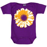 Large Flower Bodysuit with Short Sleeve in Purple