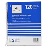 Notebooks, Wirebound, 3 Subject, 10-1/2&quot;x8&quot;, Wide Ruled, 120SH