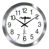 Round Profile Radio-controlled Wall Clock, Silver