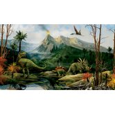 Dinosaur Chair Rail Prepasted Mural 6' x 10.5'