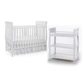 Sarah Classic Two Piece Convertible Crib Set in White