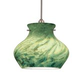 Moss Track Pendant with Green Glass Shade