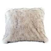 Arctic Fox Faux Fur Pillow Cover with Blonde Faux Suede Back