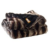 Ribbed Chinchilla Faux Fur Throw Blanket with Black Velvet-Velour Lining