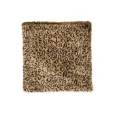 Leopard Faux Fur Pillow Cover with Camel-Faux Suede Back