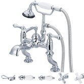 Vintage Classic Double Handle Deck Mount Tub Faucet with Hand Shower