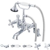 Vintage Classic Double Handle Deck Mount Tub Faucet with Handheld Shower