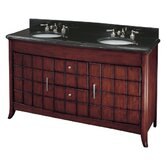 "62"" Double Bath Vanity with Black Marble Top in Cherry"