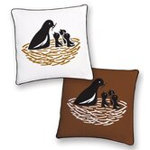 Bird Reversible Pillow in White Black and Brown