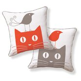 Cat and Bird Double Sided Cotton Pillow