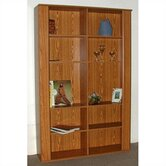 "Americus 74"" H Oak Double Bookcase"