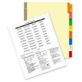 "Insertable Ring Book Indexes, 8-Tabs, 11""x8-1/2"", Multicolor"