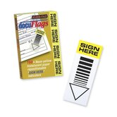 "Docu-Flages,""Sign Here"", 2""x3-3/4"", 160 Ct, Yellow/Translucent"