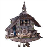 22&quot; Dark Chalet 8-Day Movement Cuckoo Clock with Bell Tower