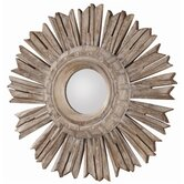 Valence Hand Carved Solid Wood Starburst Mirror